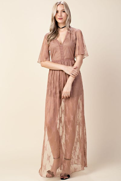 Mocha Embroidered Romper Mesh Maxi Dress