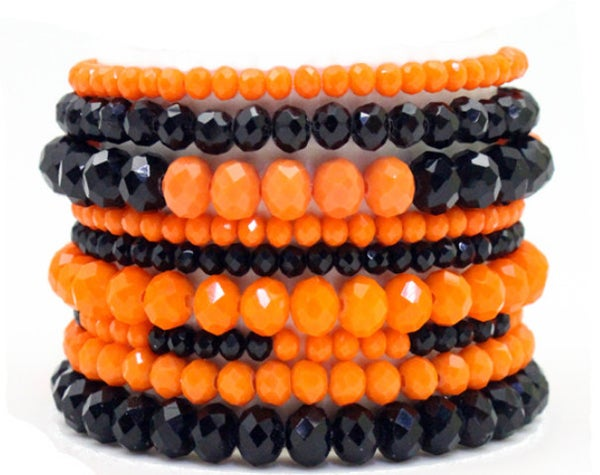 9-Piece Black & Orange Crystal Beaded Bracelet Set