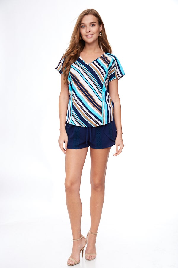 Blue Striped Ruched Back Contrast Top