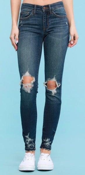 Judy Blue Dark Destroyed Skinny Jeans
