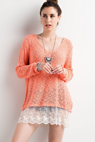 Neon Coral Scalloped Lace Knitted V-Neck Sweater
