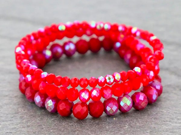Red 3-Piece Stretch Bracelet Set
