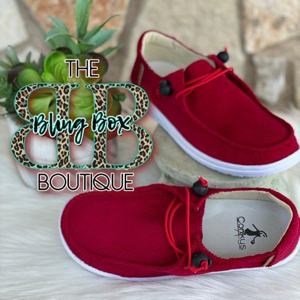 Corkys Kayak Red Corduroy Slip On Tennis Shoes