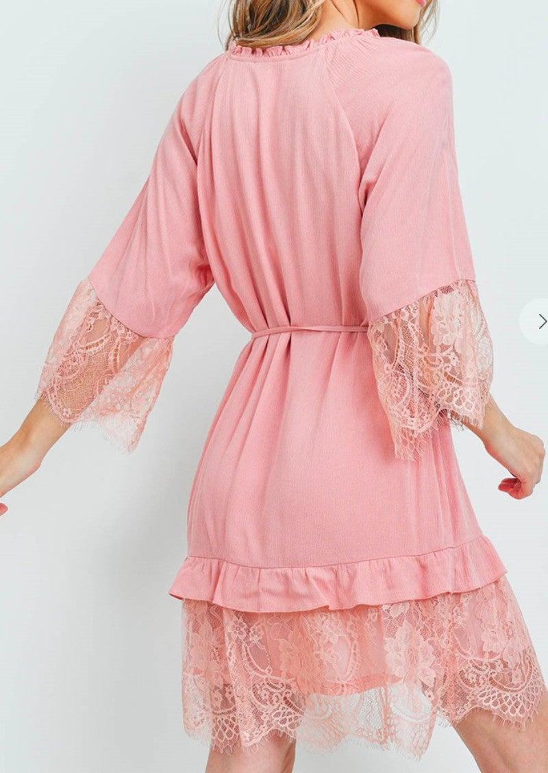 Blush V-Neck Lace Trim Dress