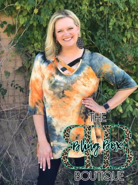 Harvest Orange Tie Dye Mix Criss Cross Tunic