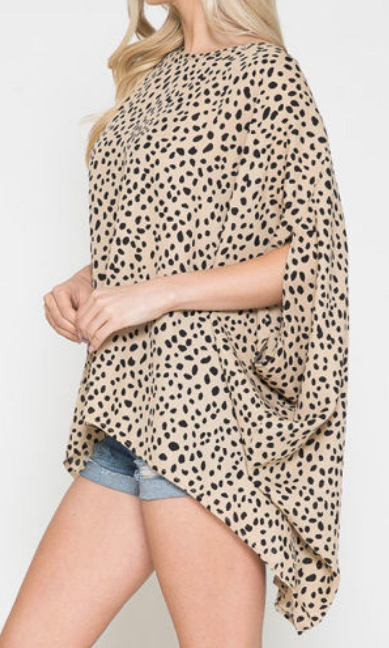 Taupe Spotted Short Sleeve Poncho Top