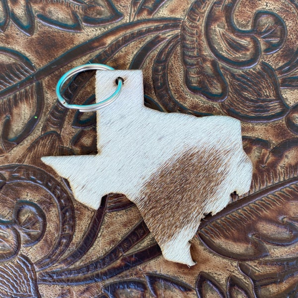 "Leather Cowhide 3"" x 3"" Texas Keychain #1"