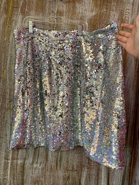 Silver Disco Sequin Mini Skirt - XL ONLY