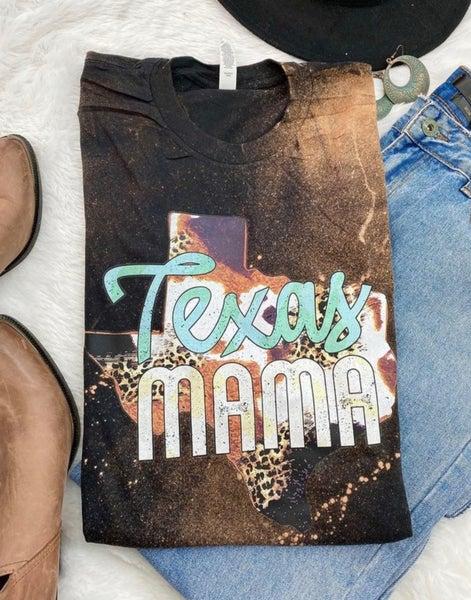 Black Bleached Texas Mama Cowprint Tee