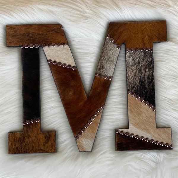 "Cowhide Patchwork 12"" Letter ""M"""