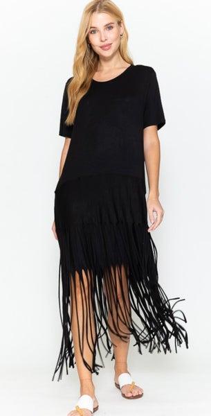 Black Fringe Short Sleeve Maxi Dress