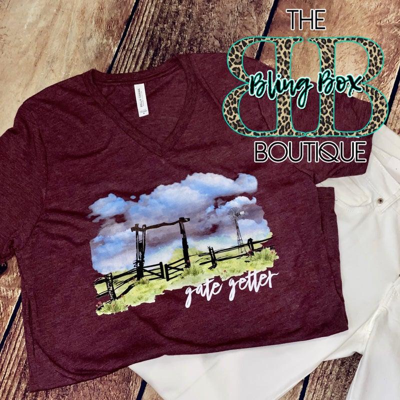 Maroon Gate Getter V-Neck T-Shirt