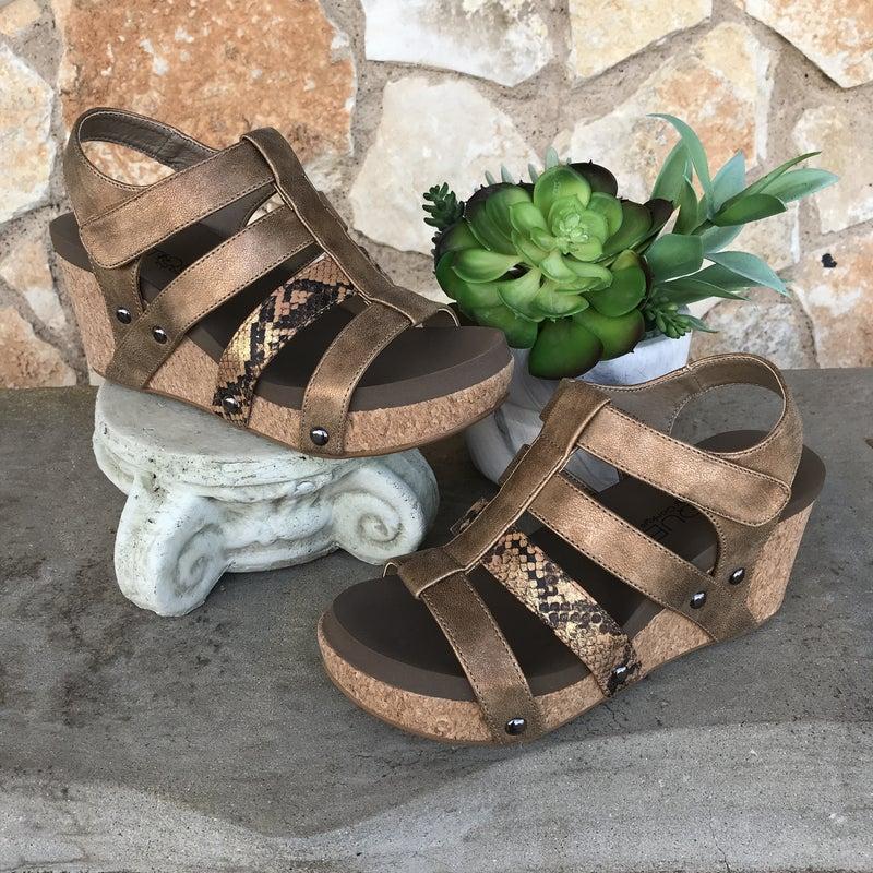 Lottie Da Copper Snake Skin Wedge Shoe