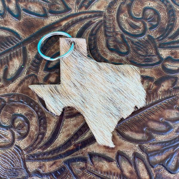 "Leather Cowhide 3"" x 3"" Texas Keychain #3"