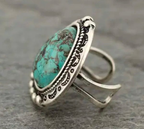 Turquoise Southwest Stone Adjustable Ring