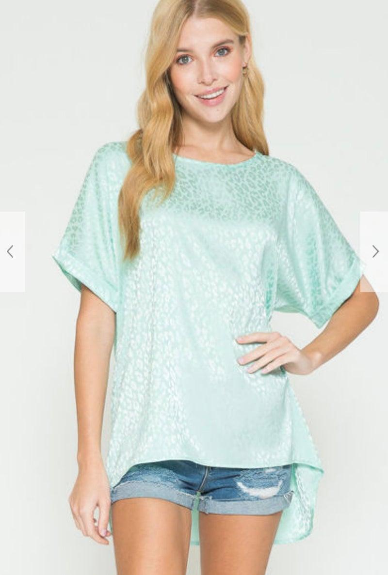 Mint Leopard Silk Short Sleeve Tunic
