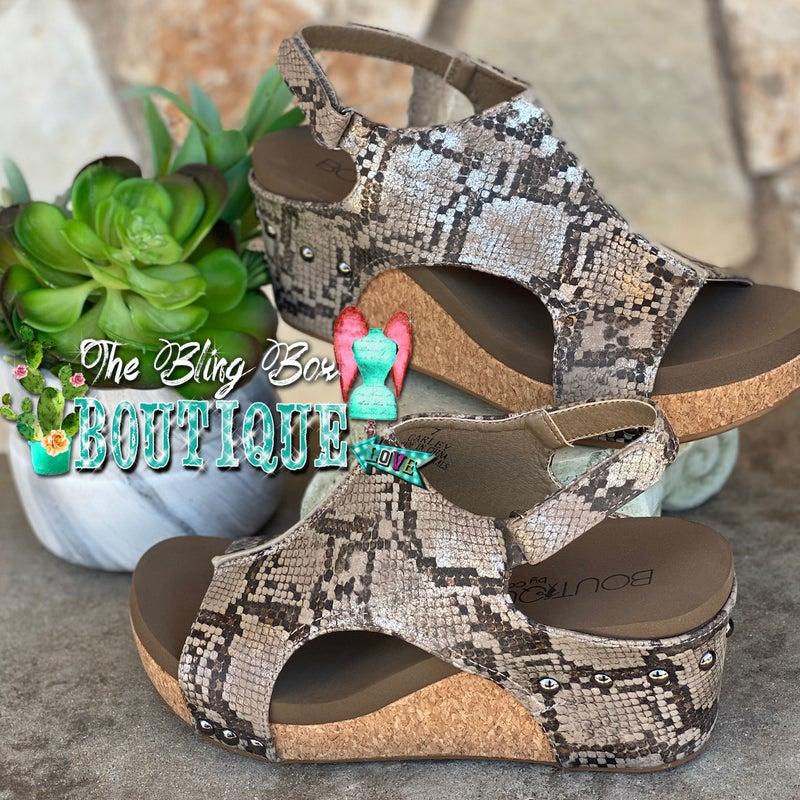 Corky's Carley  Taupe Snake Skin Wedge Shoe
