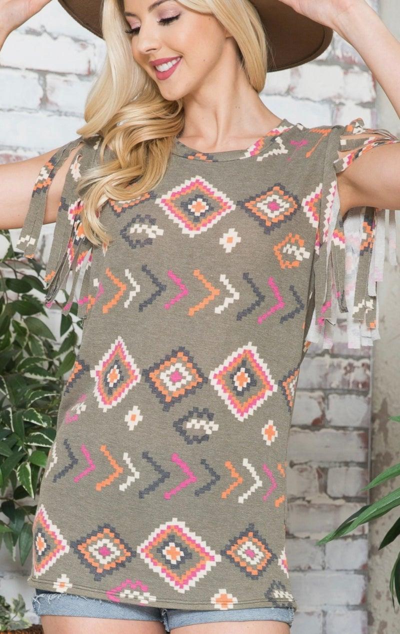 Olive Aztec Short Fringe Sleeve Top
