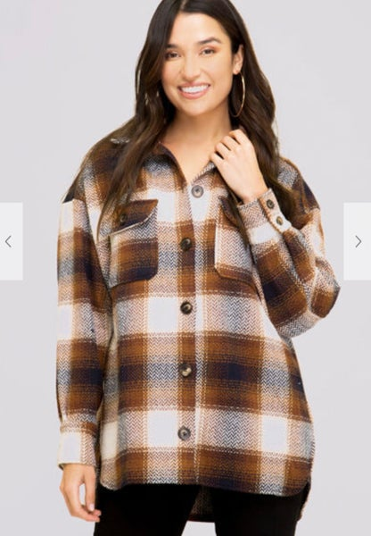 Camel Brown Plaid Button Up Jacket