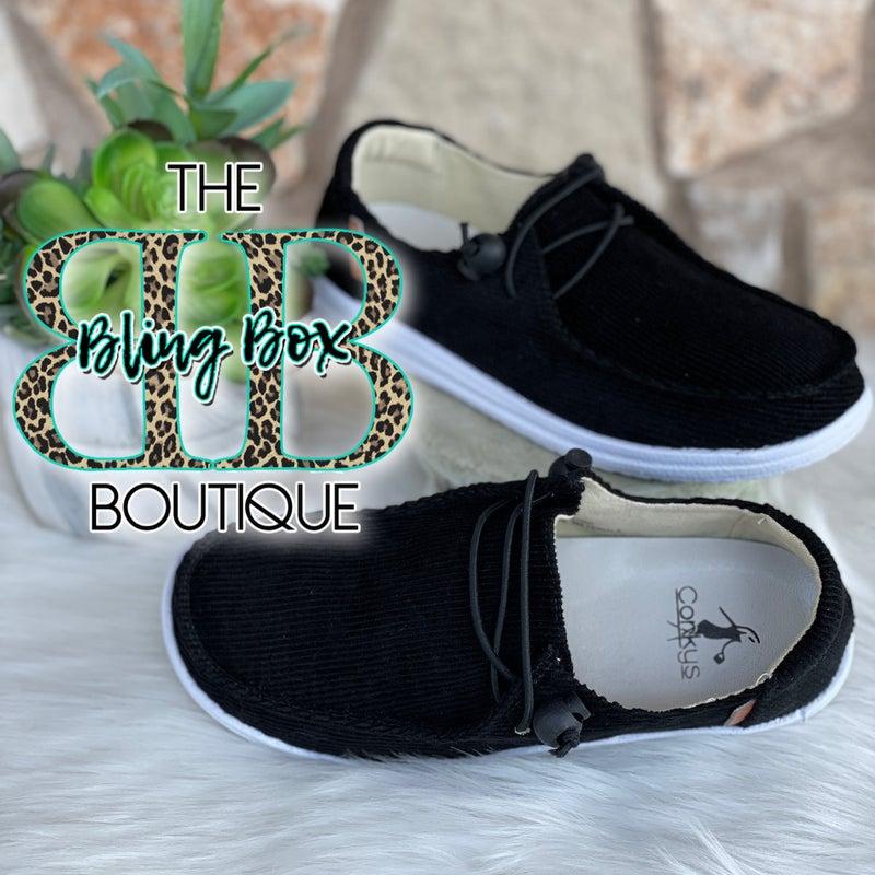 Corkys Kayak Black Corduroy Slip On Tennis Shoes