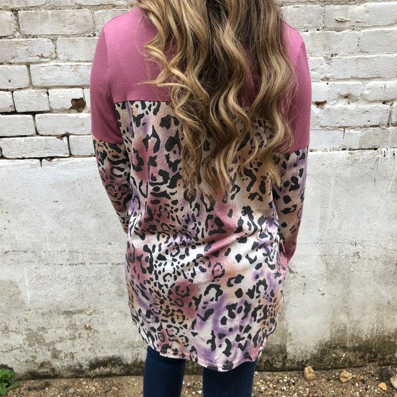 Mauve Multi Leopard Print Long Sleeve Top