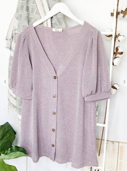 Violet Shirring Shoulder Knit Button Down Top