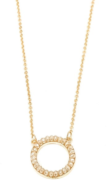 "Natural Crystal Round Sandra Gold 16"" Necklace Set"