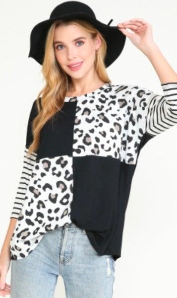 3/4 Sleeve Black & White Color Block Top
