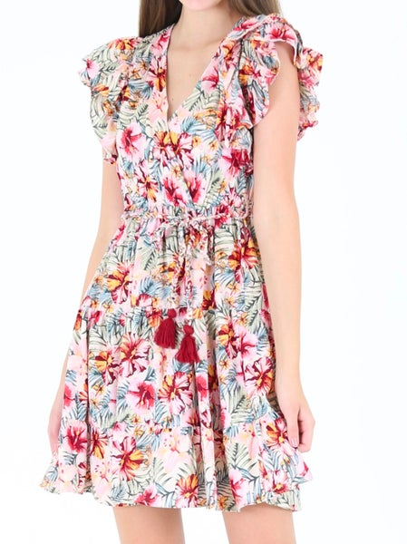 Tropical Print Ruffled Sleeve Dress with Braided Tassel Belt