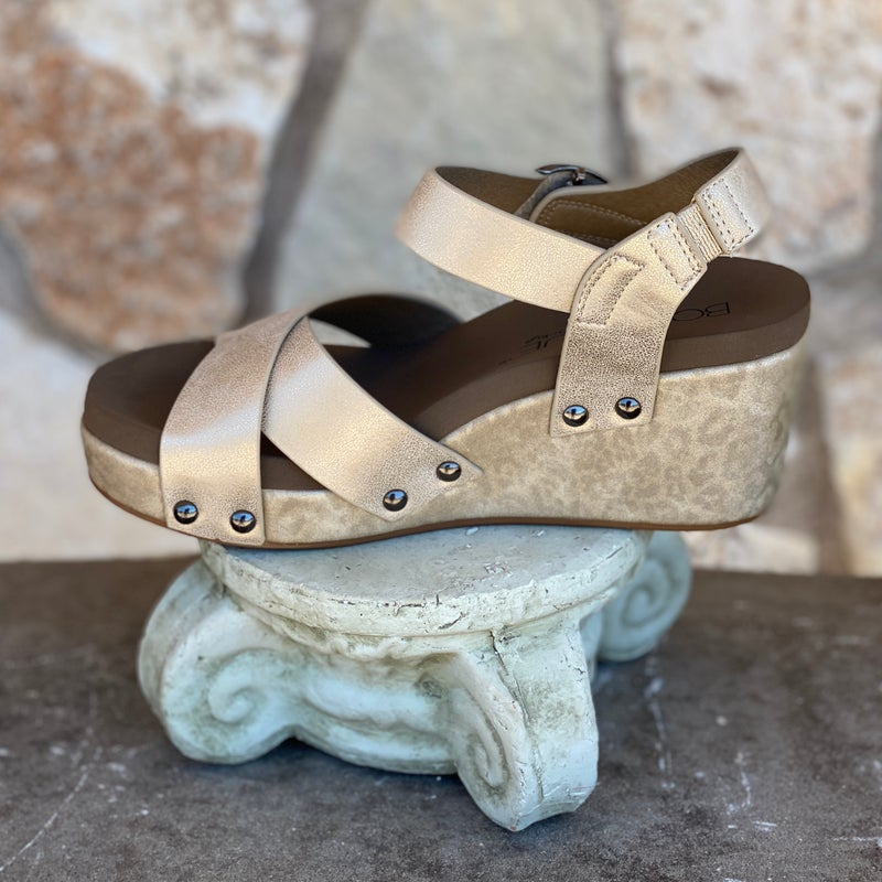 Corkys Gold Flax Wedge Sandals