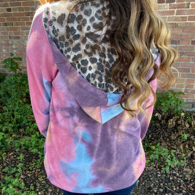 Dark Candy Tie Dye Leopard Trim Jacket