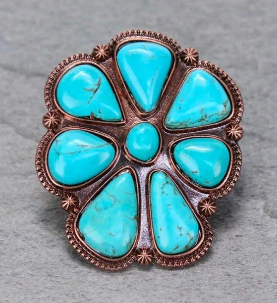 Copper Western Concho Stone Stretch Ring
