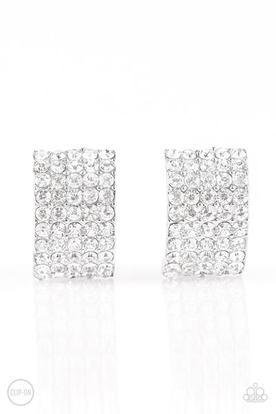 Hollywood Hotshot - White Clip-On Earring