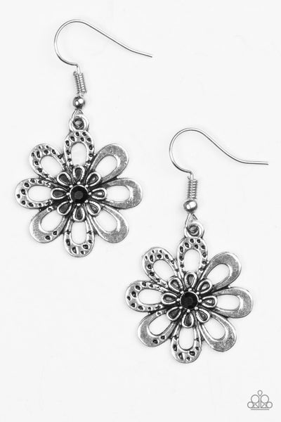 Fashion Floret - Black Earring