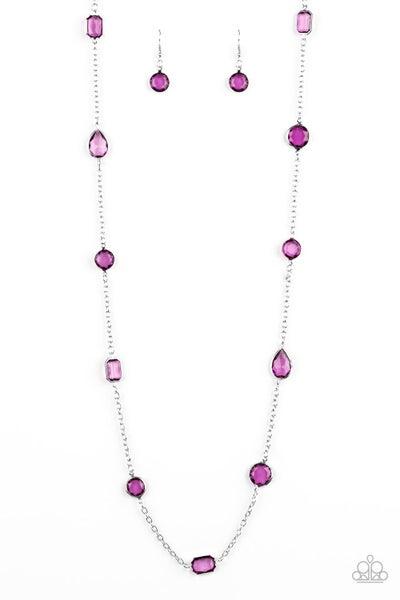 Glassy Glamorous - Purple Necklace