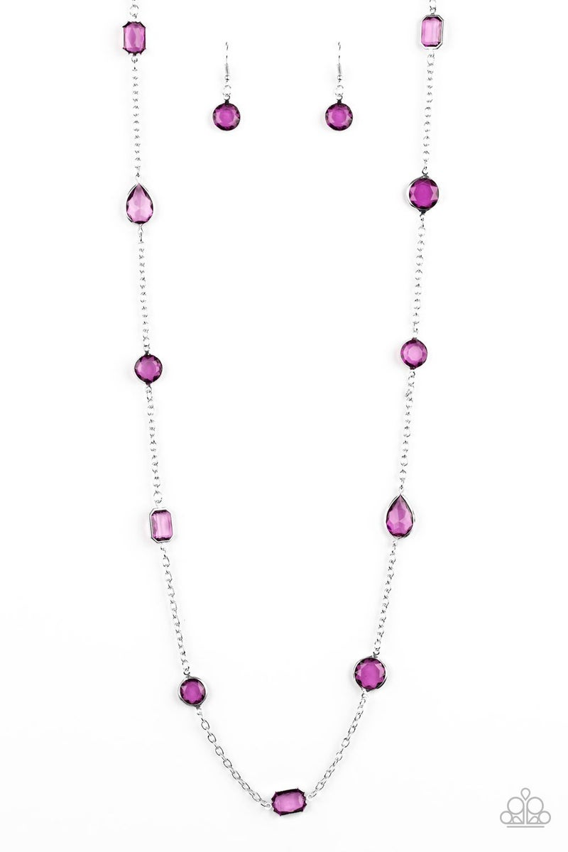 Glassy Glamorous - Purple Necklace