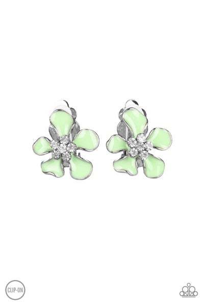 Island Iris - Green Clip on Earring