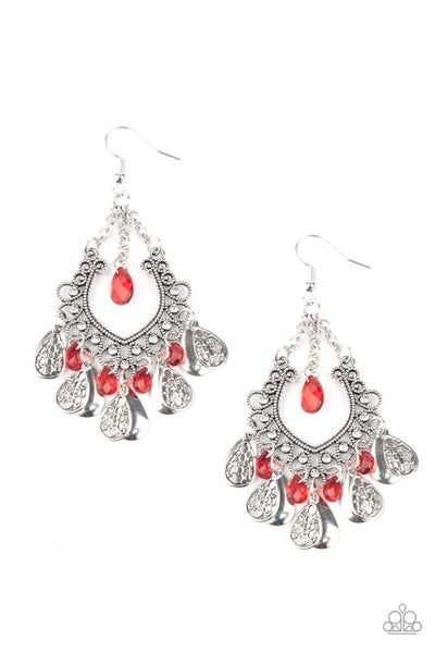 Musical Gardens - Red Earrings