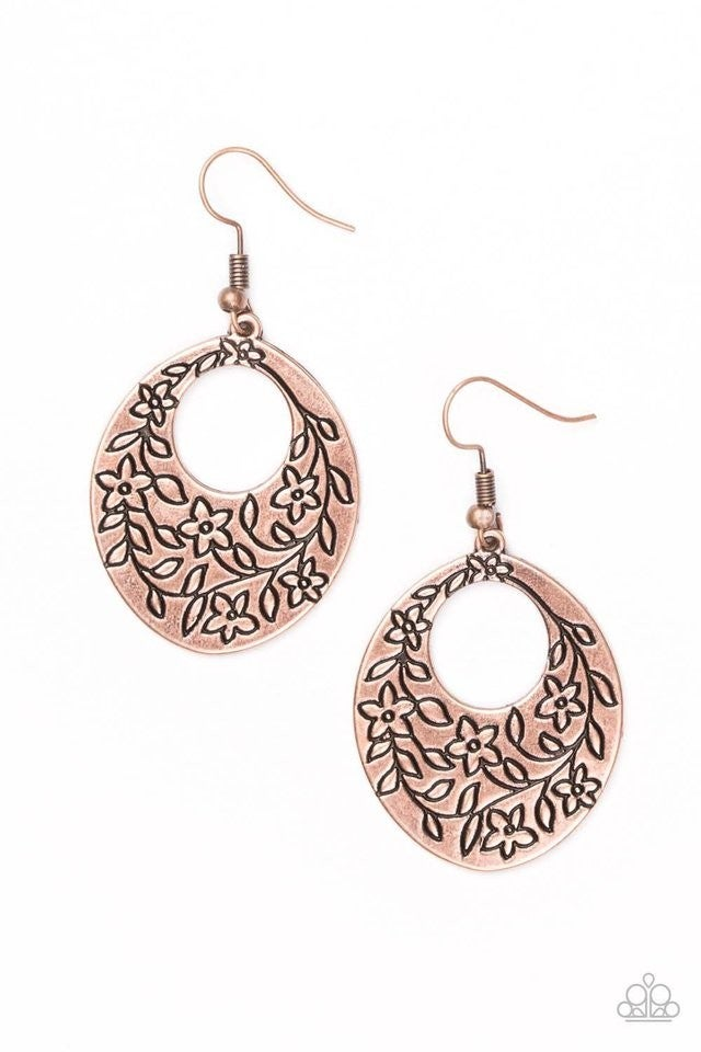 Flirting With Florals - Copper Earrings