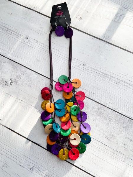 Wood Multi Rainbow Necklace