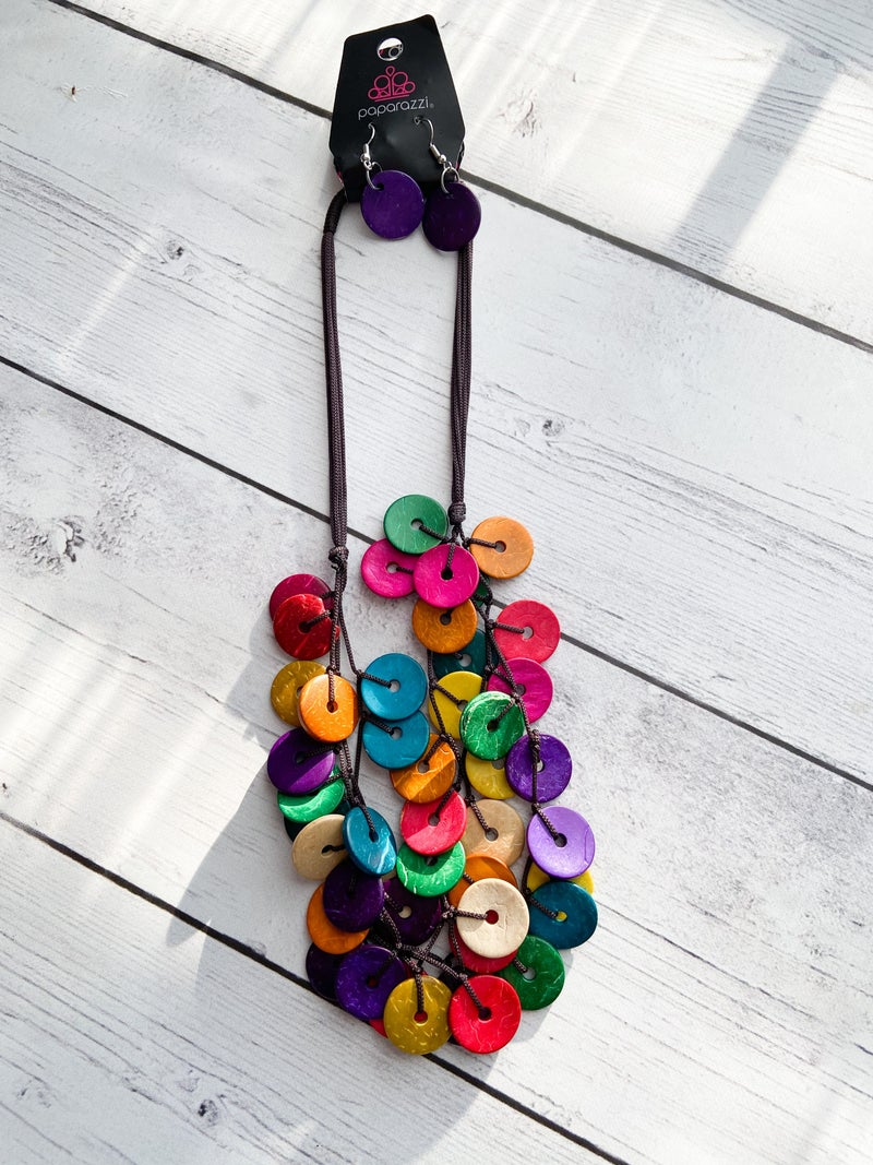 Wood Multi Rainbow Necklace