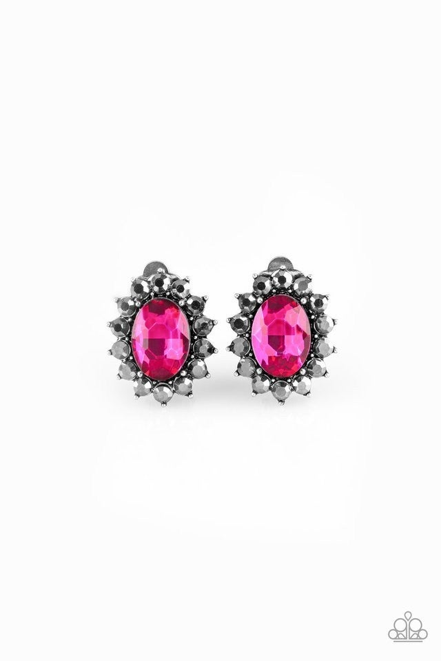 Gala Glamour - Pink Clip-On Earrings