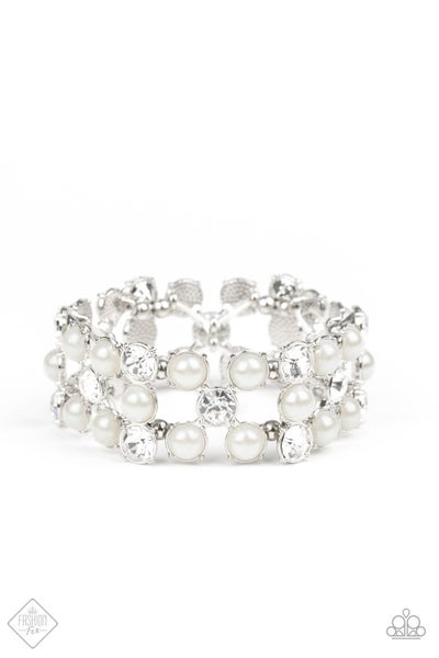 Diamonds and Debutantes - White Bracelet