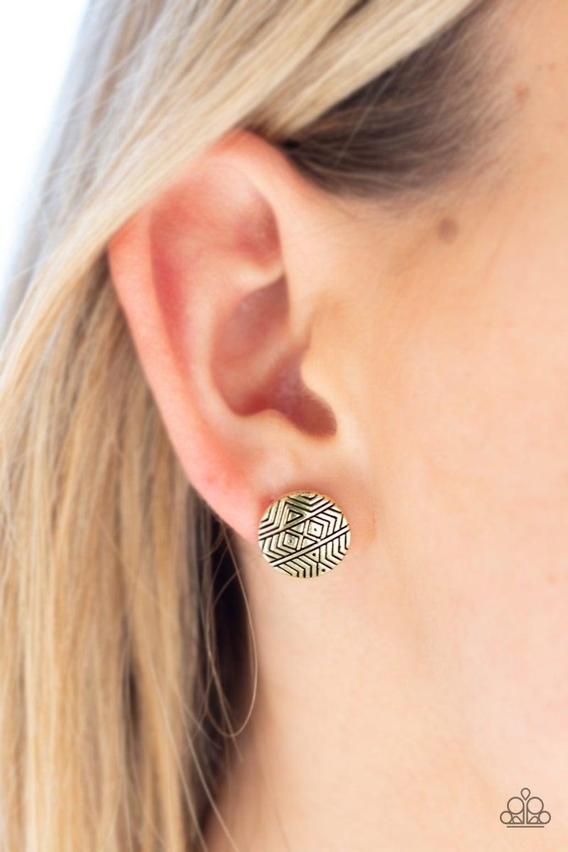 Bright As A Button - Brass Earring