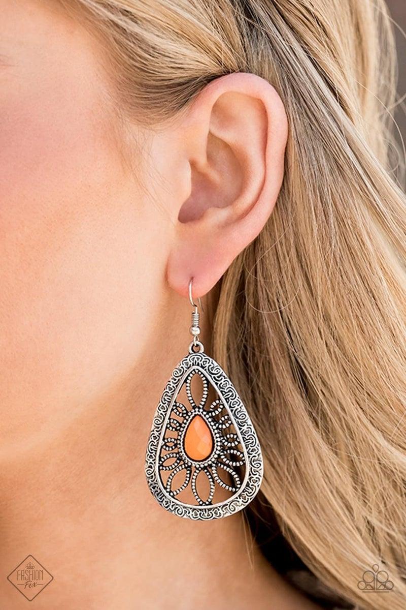 Floral Frill - Orange Earring