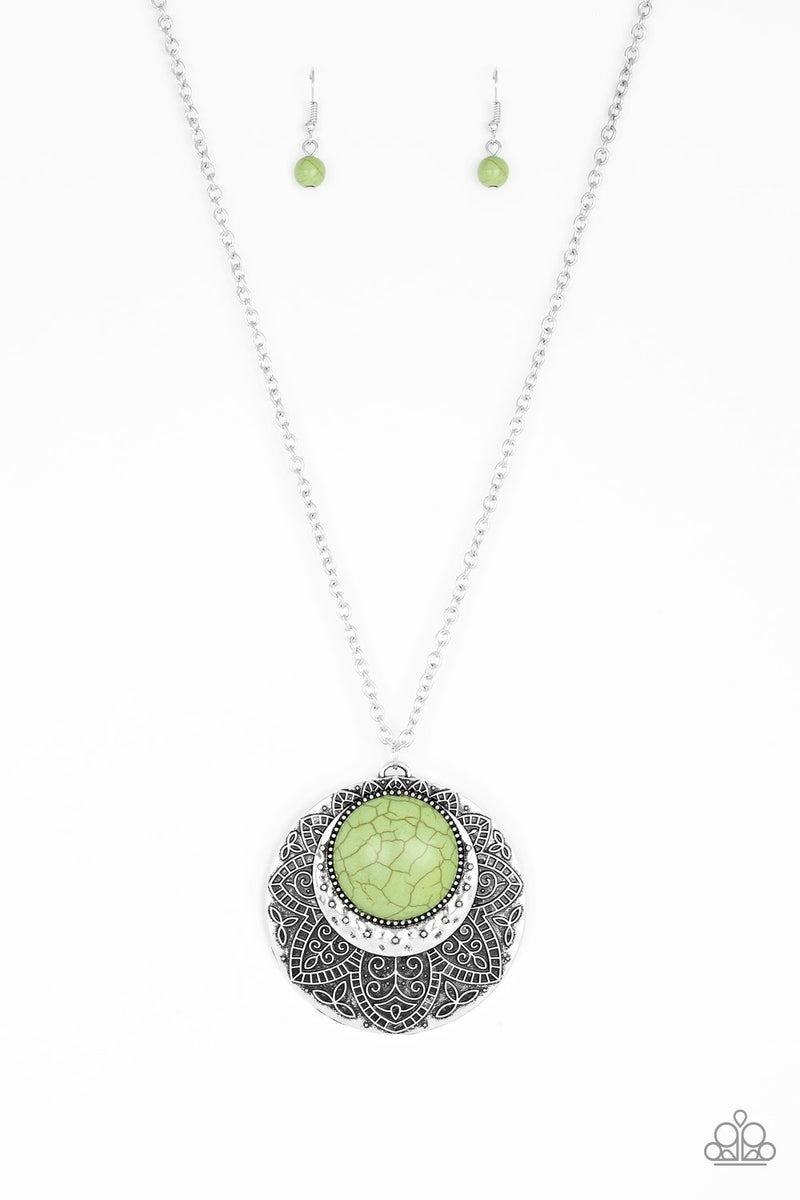 Medallion Meadow - Green Necklace