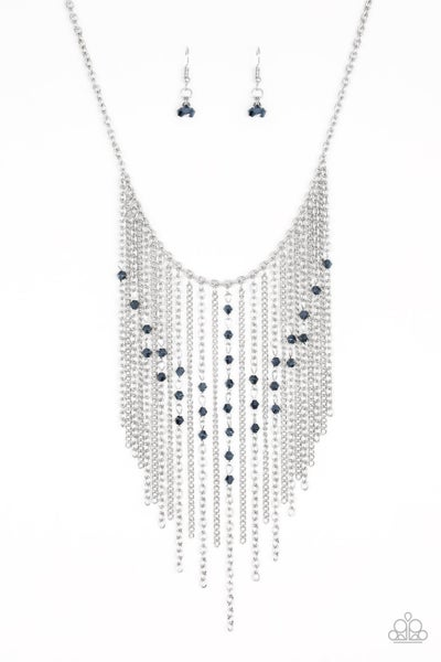 First Class Fringe - Blue Necklace