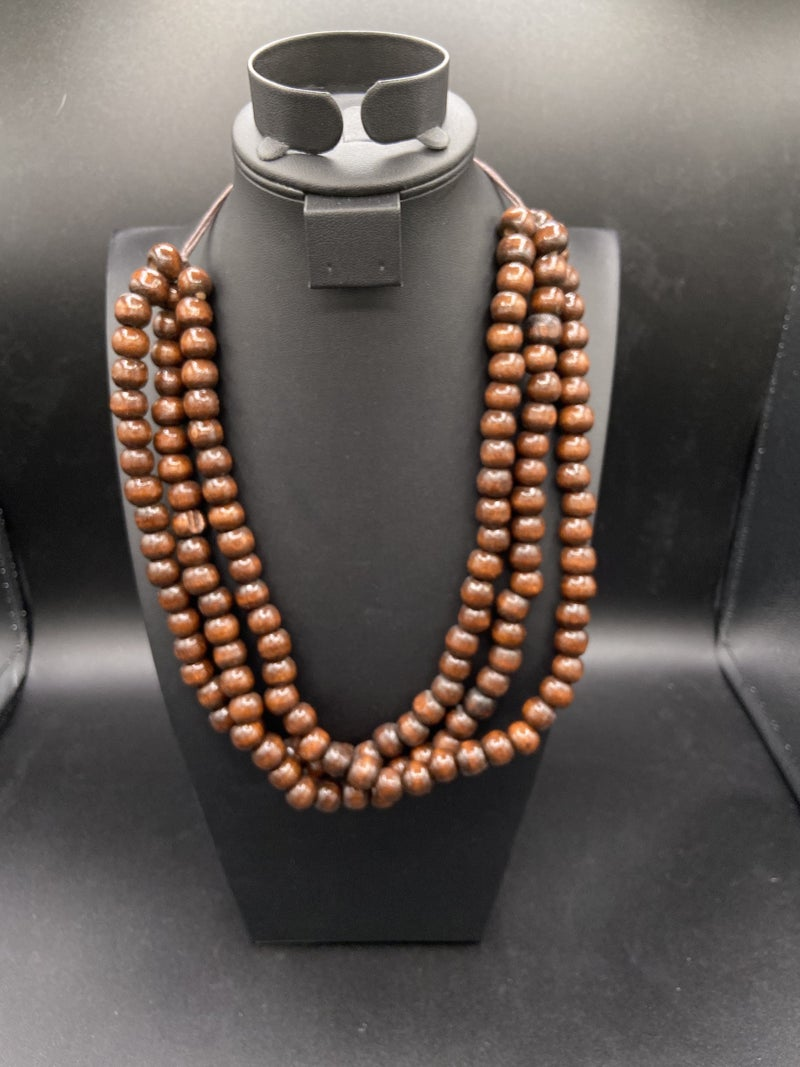 3 layered wood necklace - brown