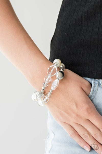 Downtown Dazzle - White Bracelet