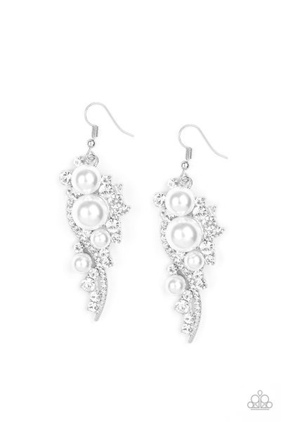 High-End Elegance - White Earring